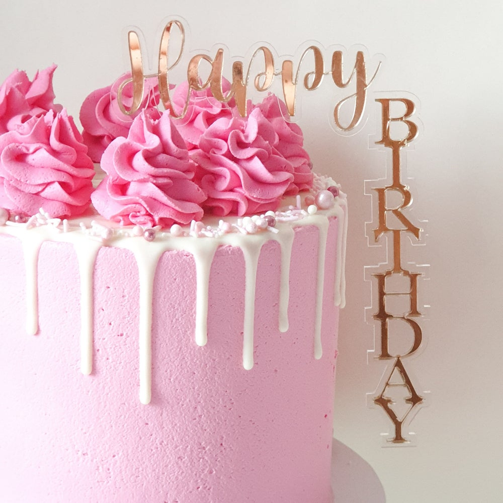 Image of Predesigned Floating Happy Birthday Cake Toppers
