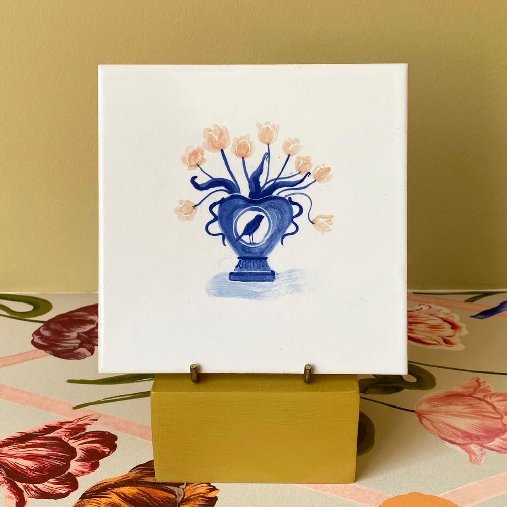 Image of Single Romantic Vase Cobalt Tile