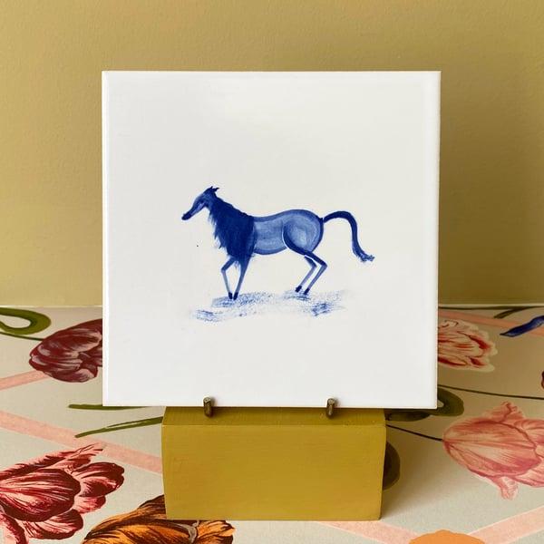 Image of Single Horse Cobalt Tile