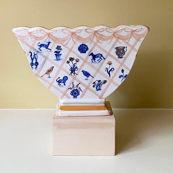 Image of Cobalt Lattice Motifs - Large Romantic Vase
