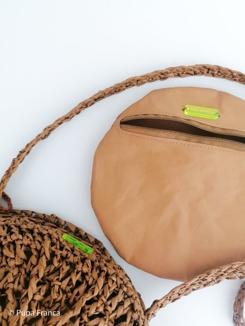 Image of Small Cross-shoulder Raffia Bag in Brown