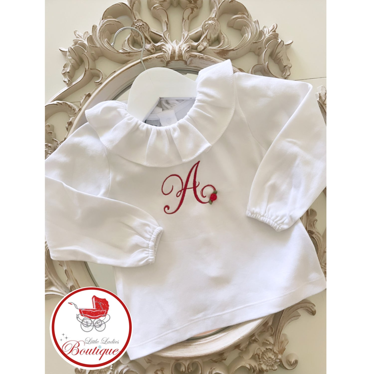 Image of Personalized frilly collar top.