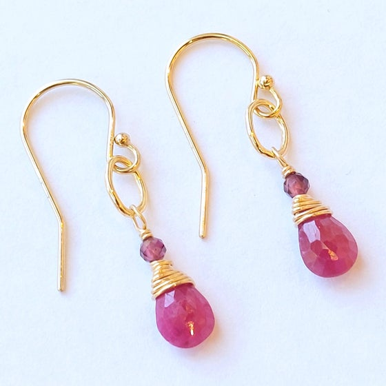 Image of Gold Ruby and  GarnetEarrings
