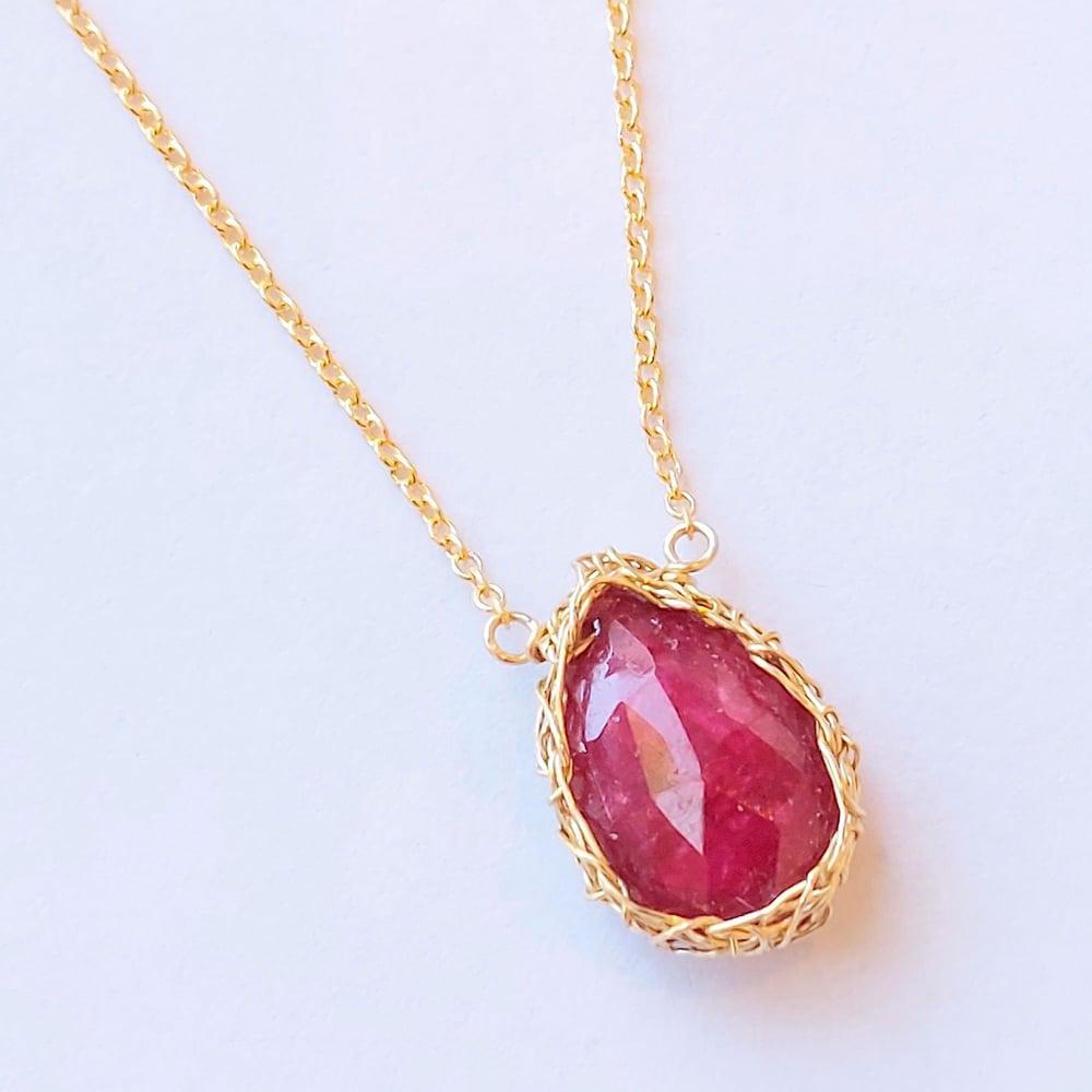 Image of Gold Crochet Ruby Teardrop Necklace