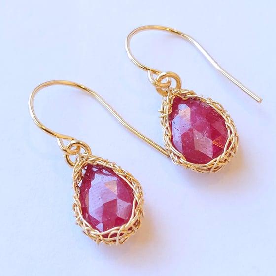 Image of Gold Crochet Ruby Teardrop Earrings