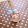 My Melody Strawberry Milk Bun Necklace