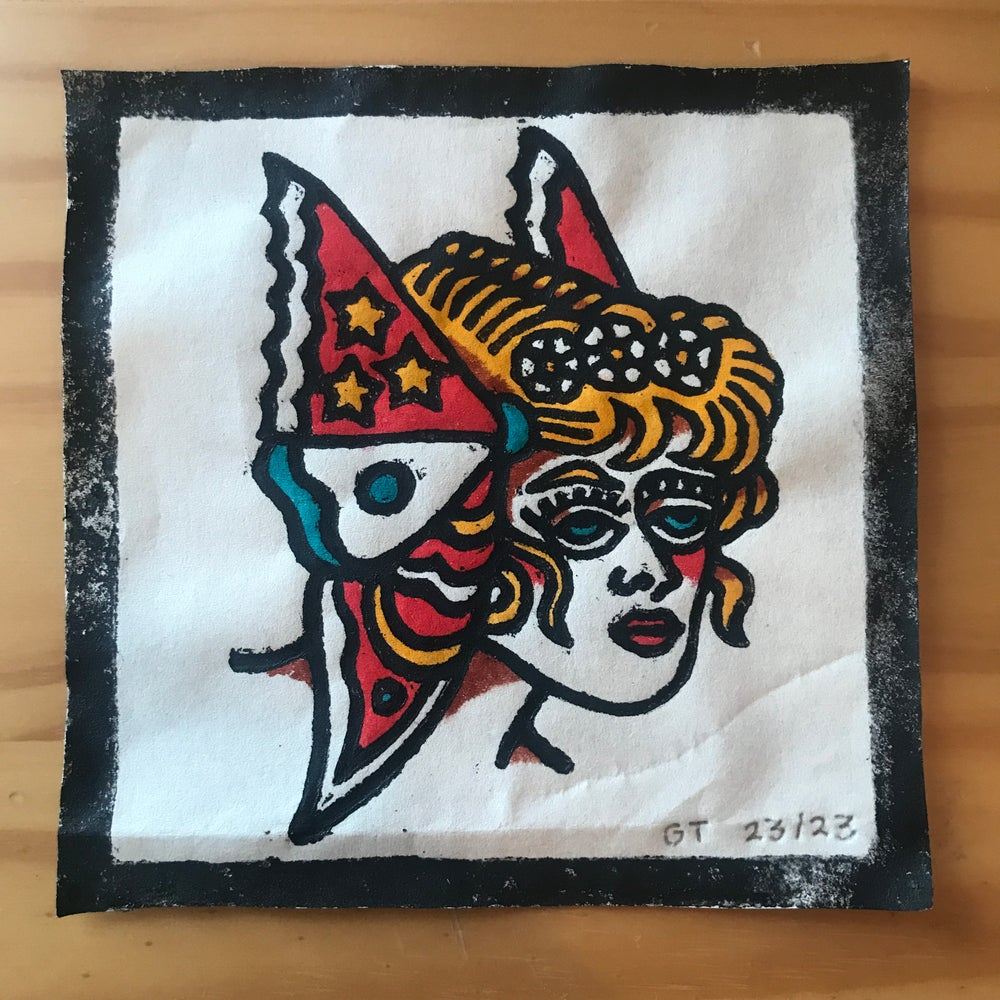 Image of Butterfly lady head woodcut print - 23/23