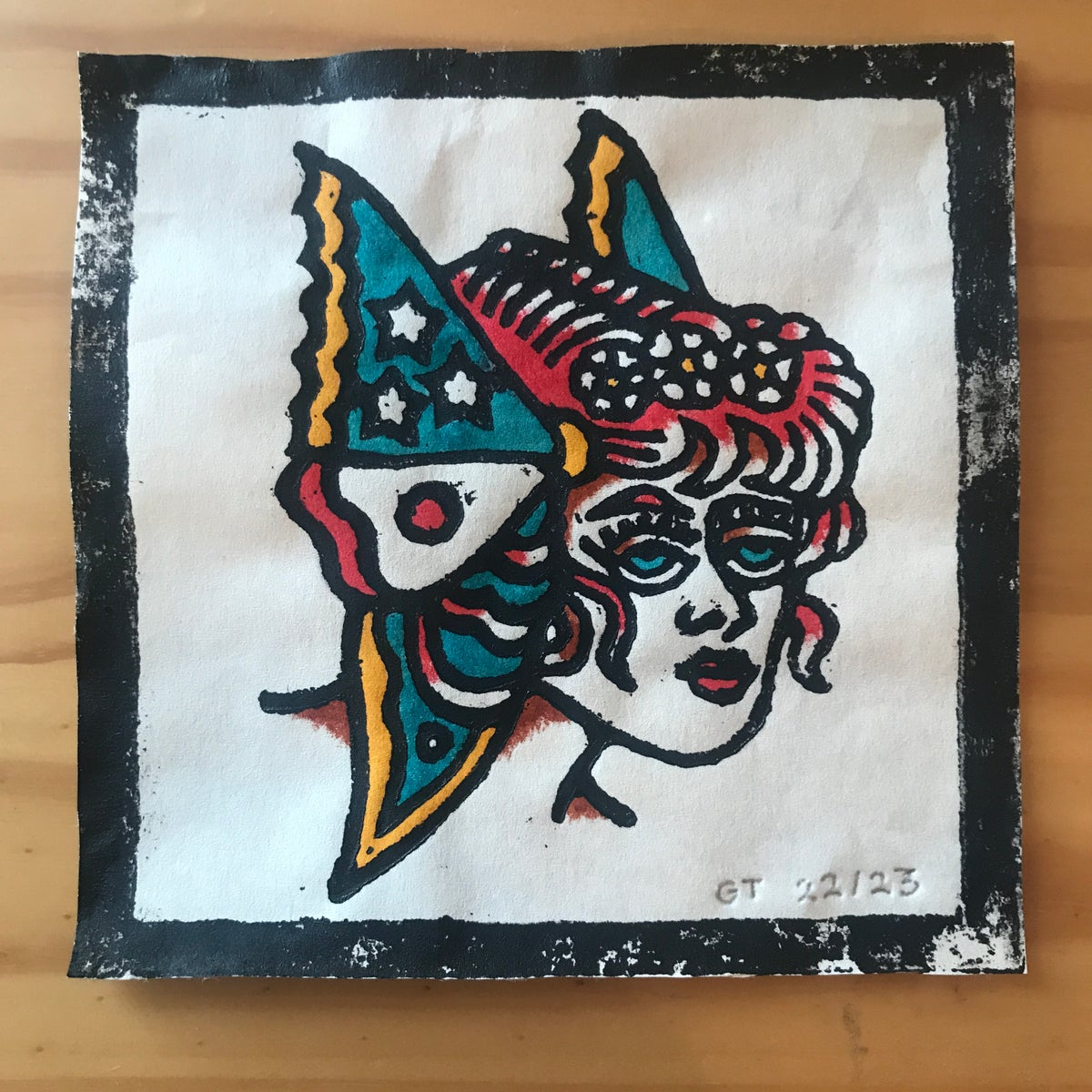 Image of Butterfly lady head woodcut print - 22/23