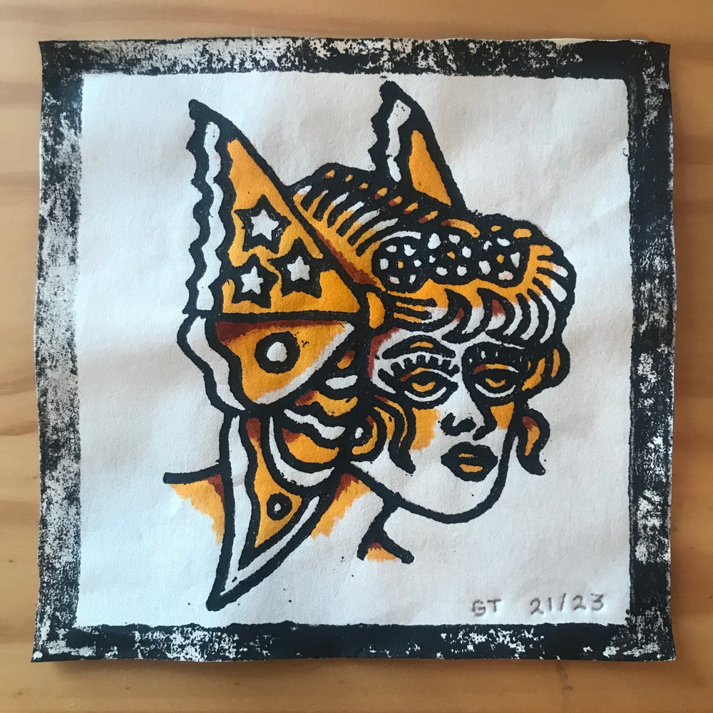 Image of Butterfly lady head woodcut print - 21/23