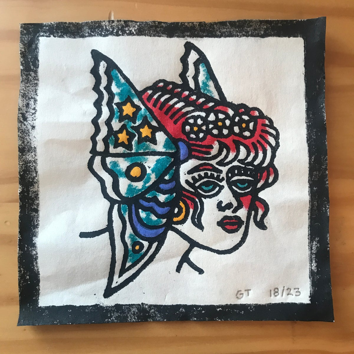 Image of Butterfly lady head woodcut print - 18/23