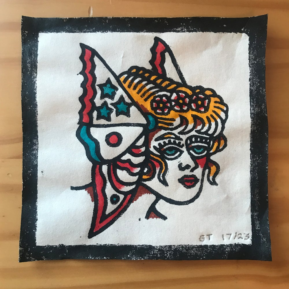 Image of Butterfly lady head woodcut print - 17/23