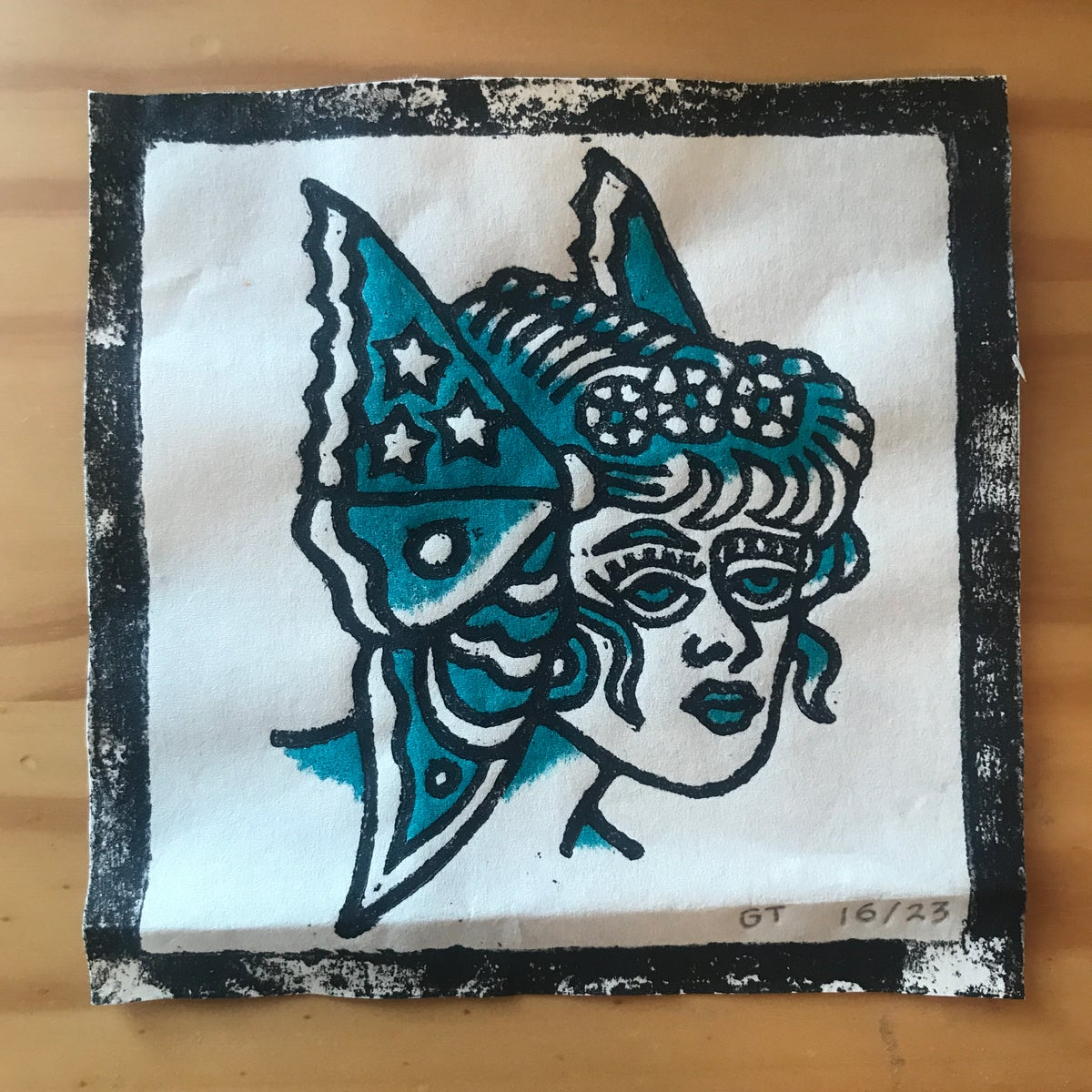 Image of Butterfly lady head woodcut print - 16/23