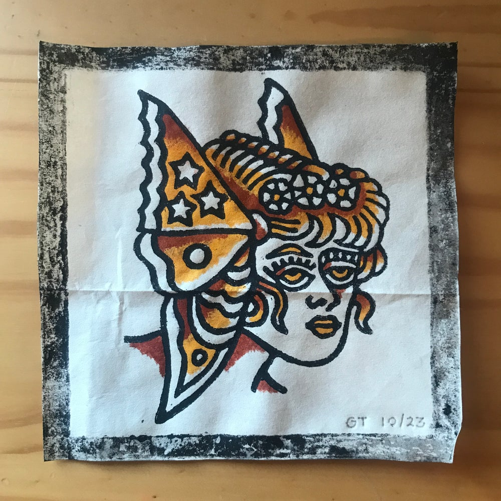 Image of Butterfly lady head woodcut print - 10/23