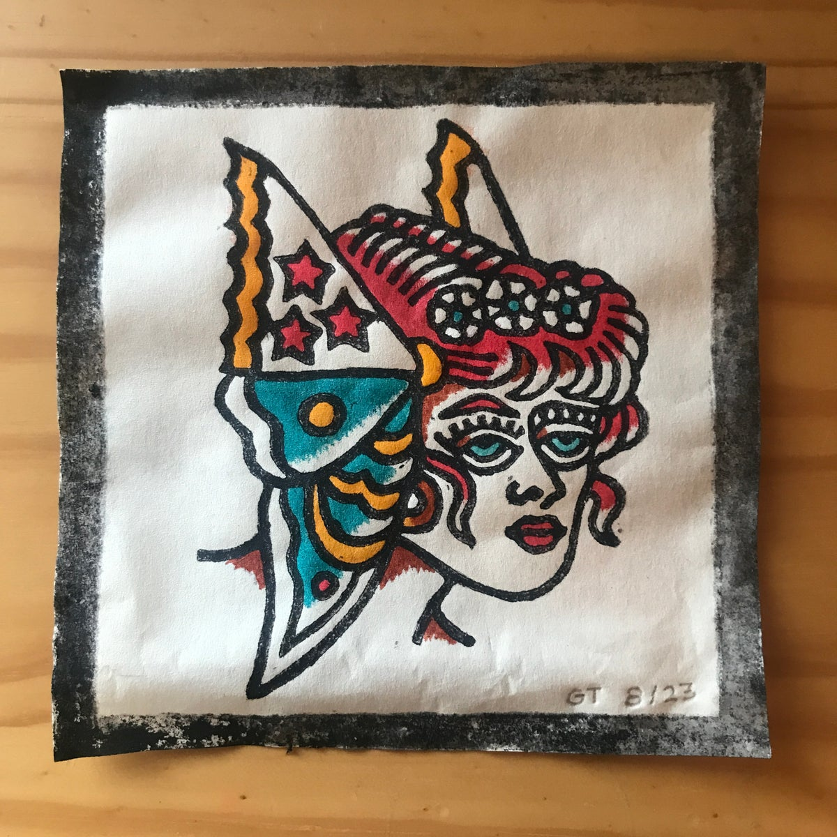Image of Butterfly lady head woodcut print - 8/23