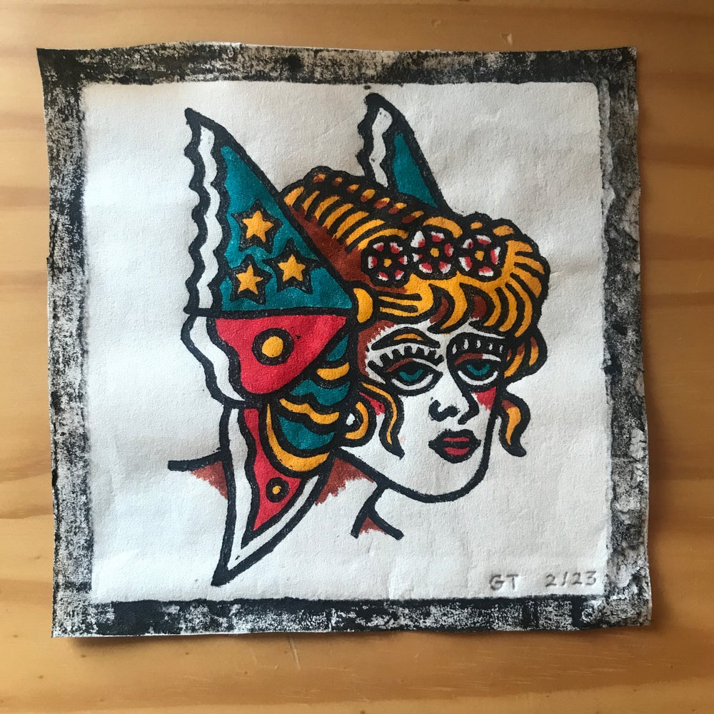 Image of Butterfly lady head woodcut print - 2/23