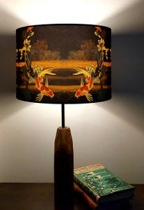 Image of Koi on Black and Gold Drum Lampshade by Lily Greenwood (30cm Diameter)