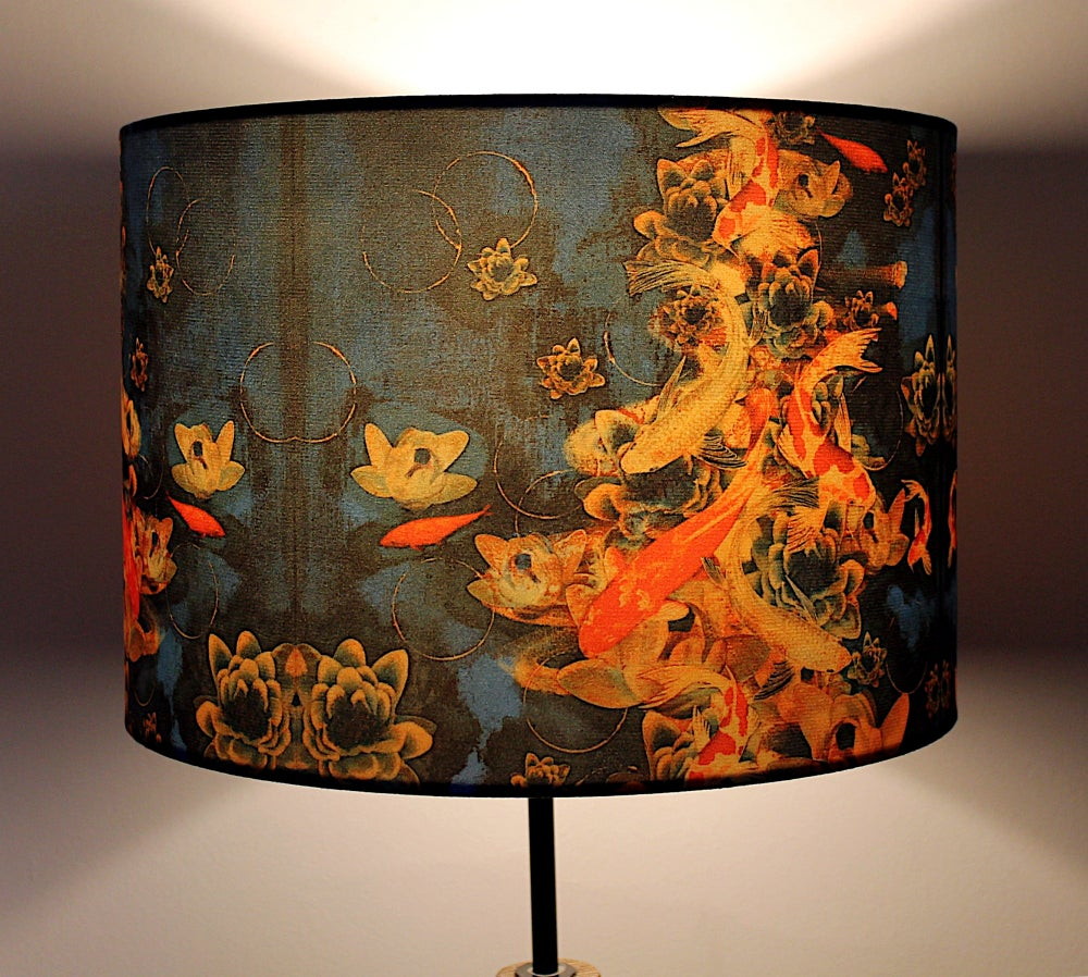 Image of Koi on Cobalt Drum Lampshade by Lily Greenwood (30cm Diameter)