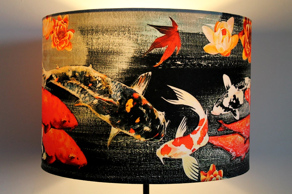 Image of Koi on Black and Grey Drum Lampshade by Lily Greenwood (30cm Diameter)