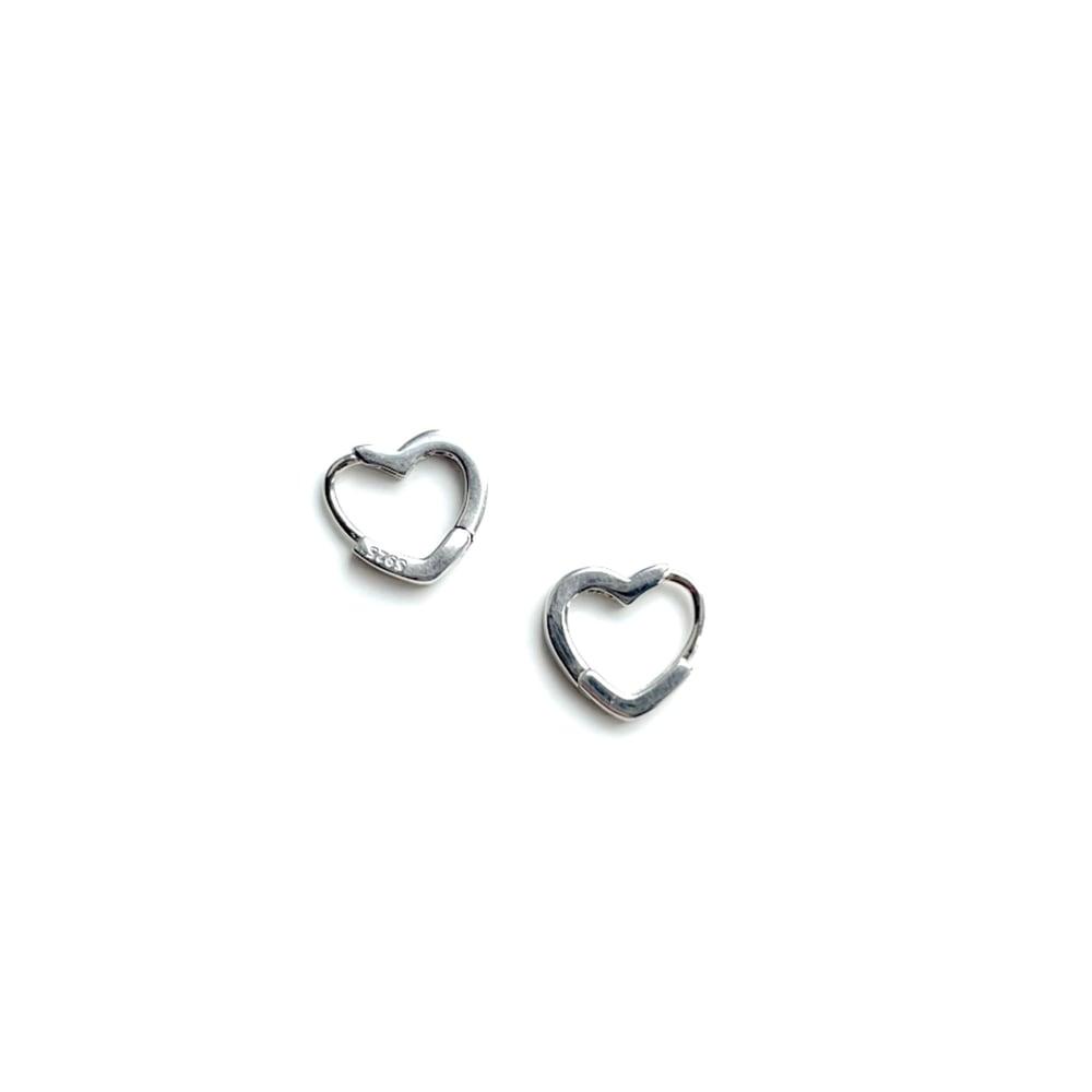 Image of Heart Shape Sleeper Hoops 925 Sterling Silver