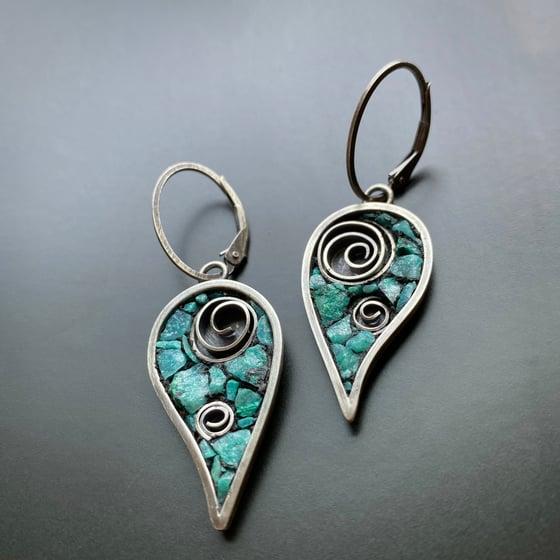 Image of Aqua Leaves with Swirl Earrings