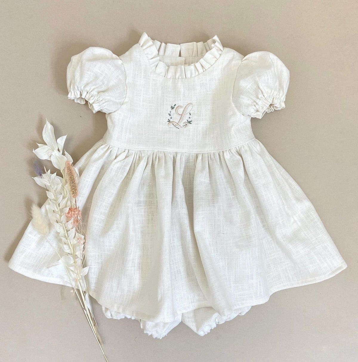 Initial embroidered ruffle neck dress in Ivory linen