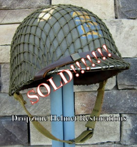 Image of WWII M1 Helmet & MSA Liner. Schlueter Fixed Bale D-Day Normandy. Engineer Special Brigade (ESB) NCO
