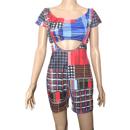 Image 2 of Plaid Crop Top & Suspenders Romper
