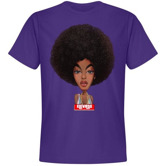 Image of Elevate Tee- Afro Puff (Purple)