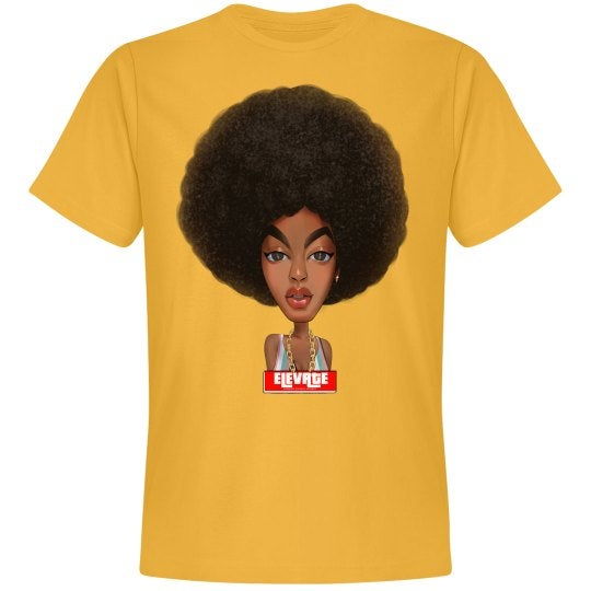 Image of Elevate Tee- Afro Puff (Gold)