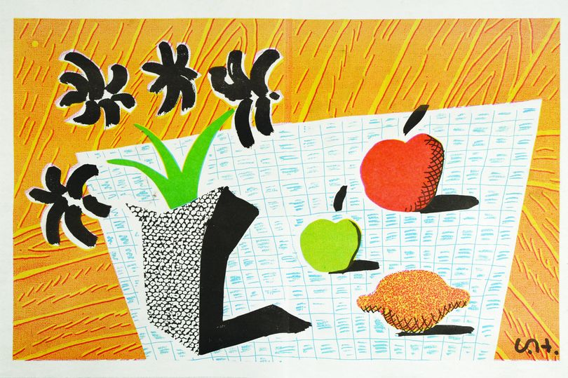 Image of david hockney / two apples, one lemon and four flowers 26/056