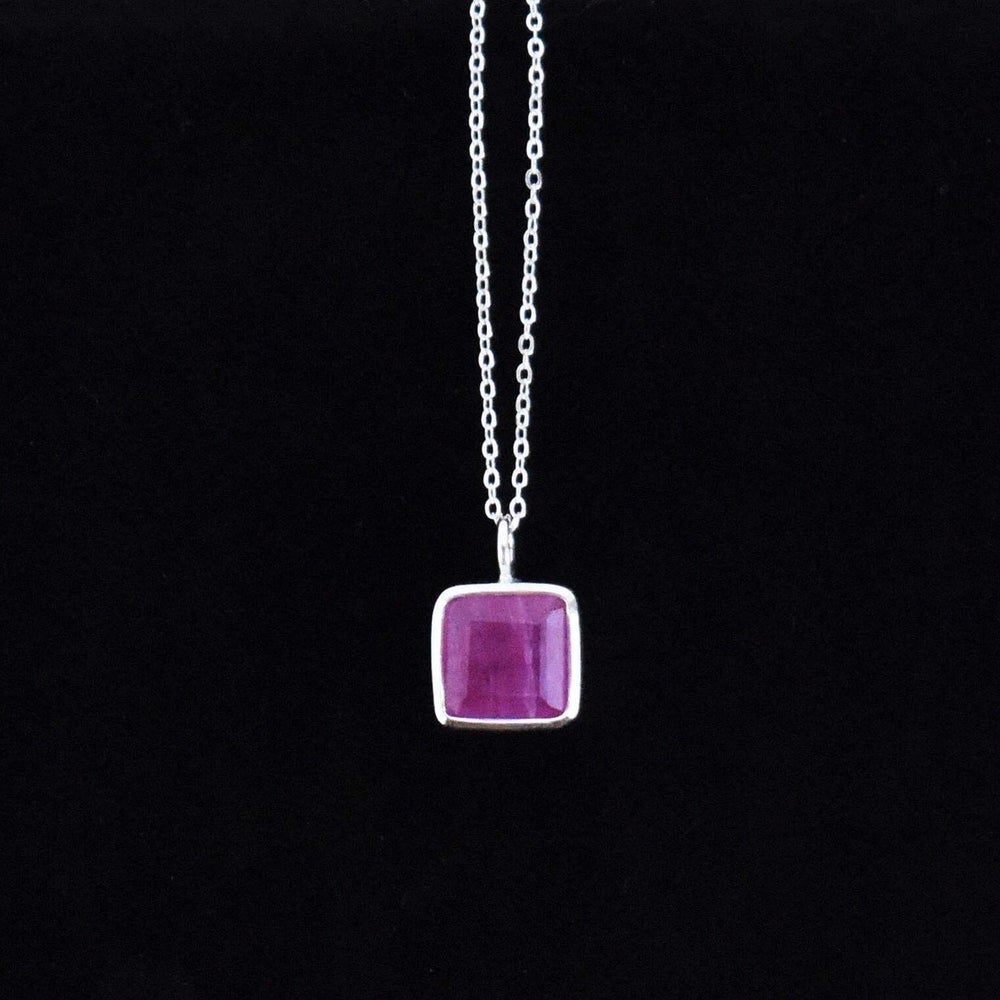 Image of Natural Bo Rai Pink Ruby square cut silver necklace