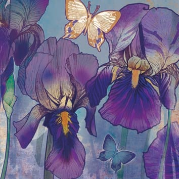 Image of Iris with Butterflies