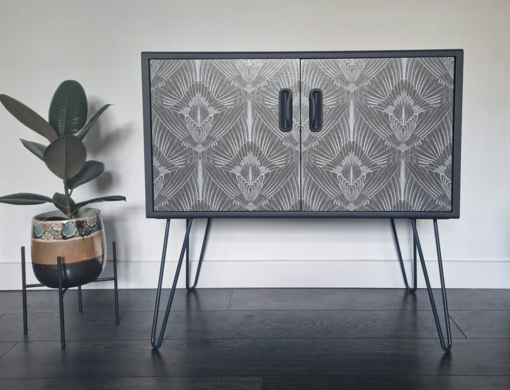 Image of •RESTYLED TO ORDER• G PLAN FRESCO COCKTAIL CABINET WITH DECOUPAGE DESIGN