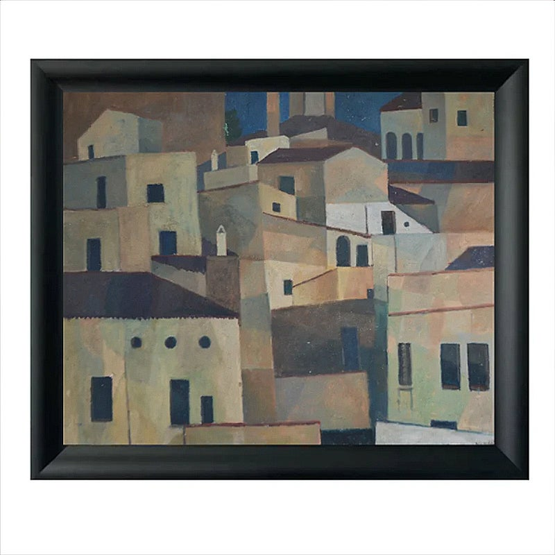 Image of Mid-century Painting, 'Hill Village,' Horas Kennedy