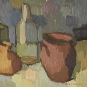 Image of Mid Century, Swedish painting, 'Vessels,' ERIK ANDERSSON