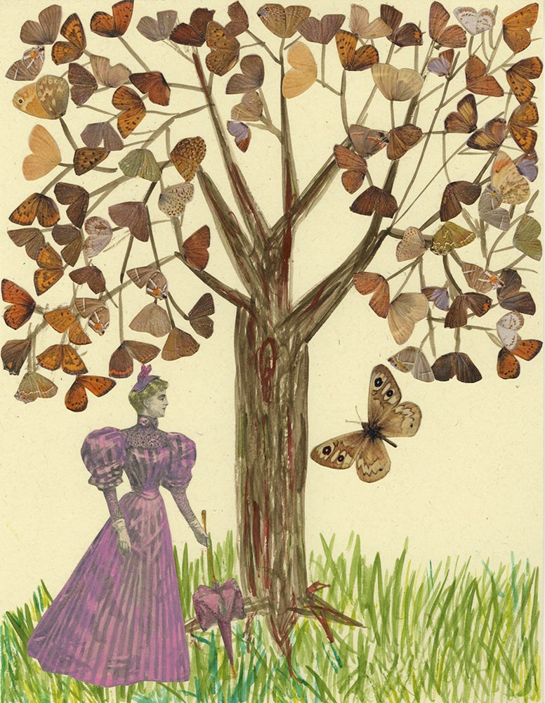 Image of Two butterflies went out at noon. Original paper collage.