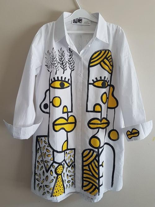 Image of long white shirt, hand painted...medium