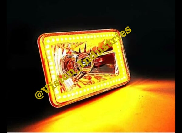 Image of 4X6 SMD AMBER/GOLD HALO SUPER BRIGHT SET (4) SELECT FROM DROP DOWN BOX