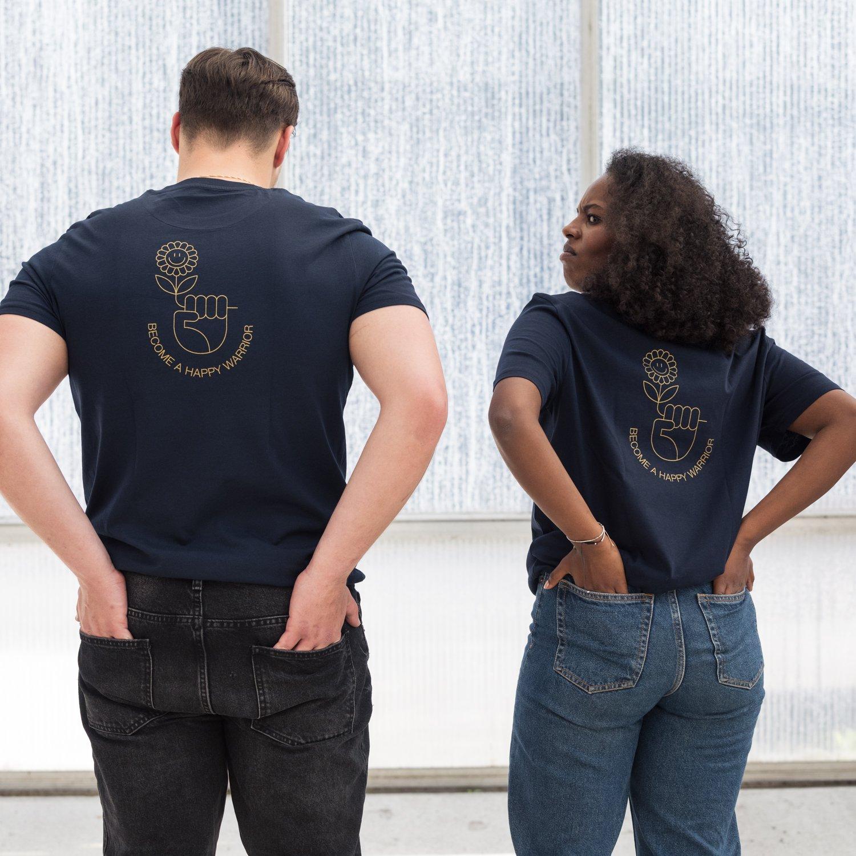 Image of T-SHIRT MAN / WOMAN short sleeve, pocket HAPPY WARRIOR (on the back) navy