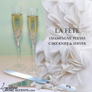 Image of La Fete Wedding Flutes Cake Knife and Server Set