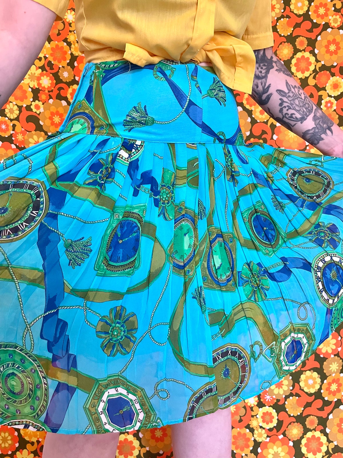 Image of Vintage 80s Clock Chain Print Turquoise Skirt