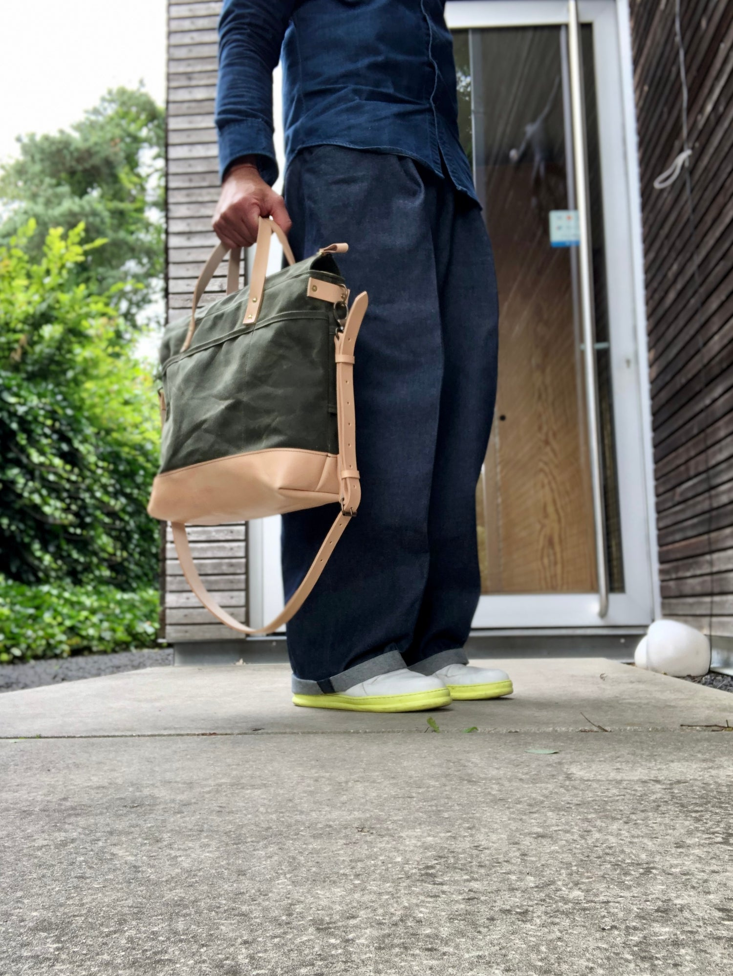 Image of Olive green waxed canvas tote bag / office bag with luggage handle attachment leather handles and sh