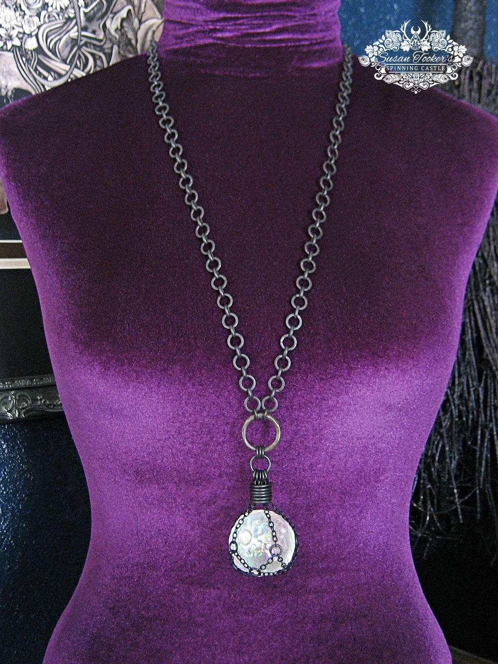 Image of THE GUARDIAN MOON - Angel Aura Quartz Crystal Moon Necklace Witchy Talisman Pagan Jewelry