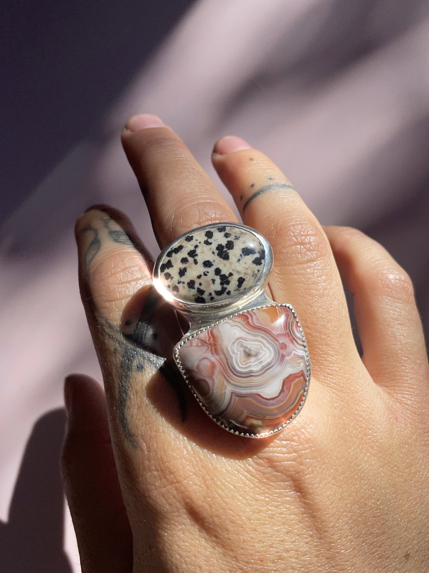 Image of Dalmatian Lace Chunky Ring