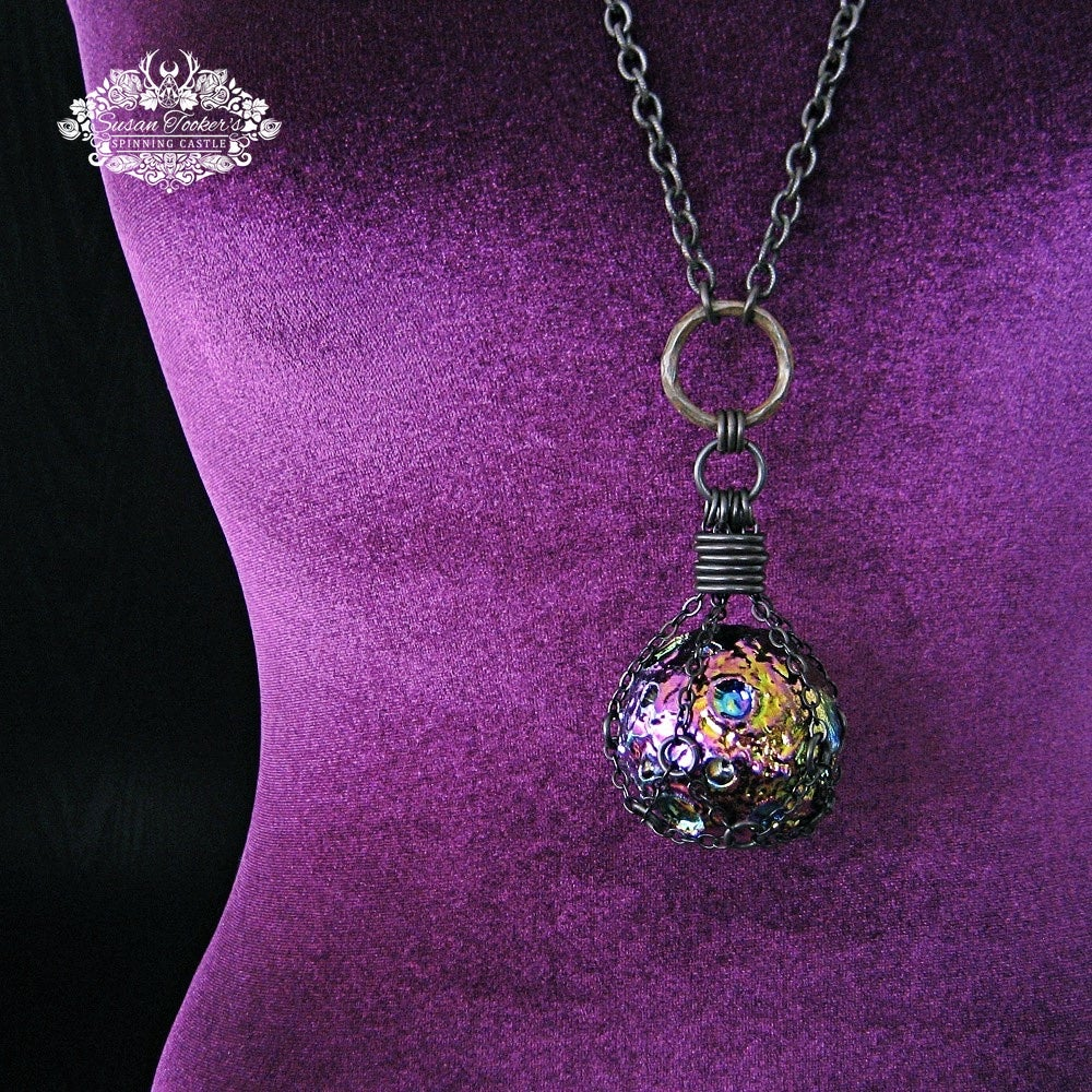 Image of THE MESSENGER MOON - Titanium Rainbow Aura Quartz Crystal Moon Necklace Witchy Witch Pagan Jewelry