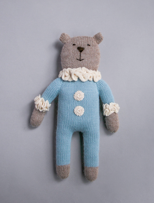 Image of teddy knit toy | blue
