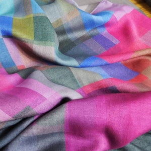 Image of Merino-Silk Stained Glass Magenta Button Shawl/Scarf