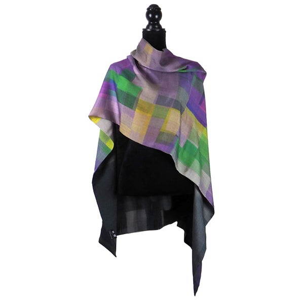 Image of Merino-Silk Stained Glass Mauve Button Shawl/Scarf