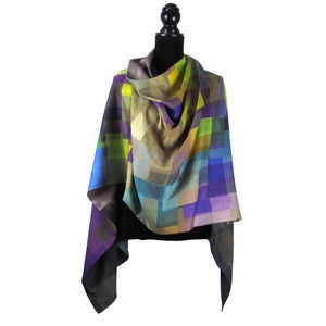Image of Merino-Silk Stained Glass Button Shawl/ Scarf