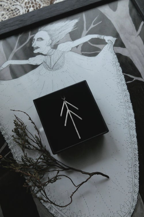 Image of ZHINGWAAK. PINE TREE TALISMAN ↟ sustainable stelring silver - unique - luck, health, prosperity...